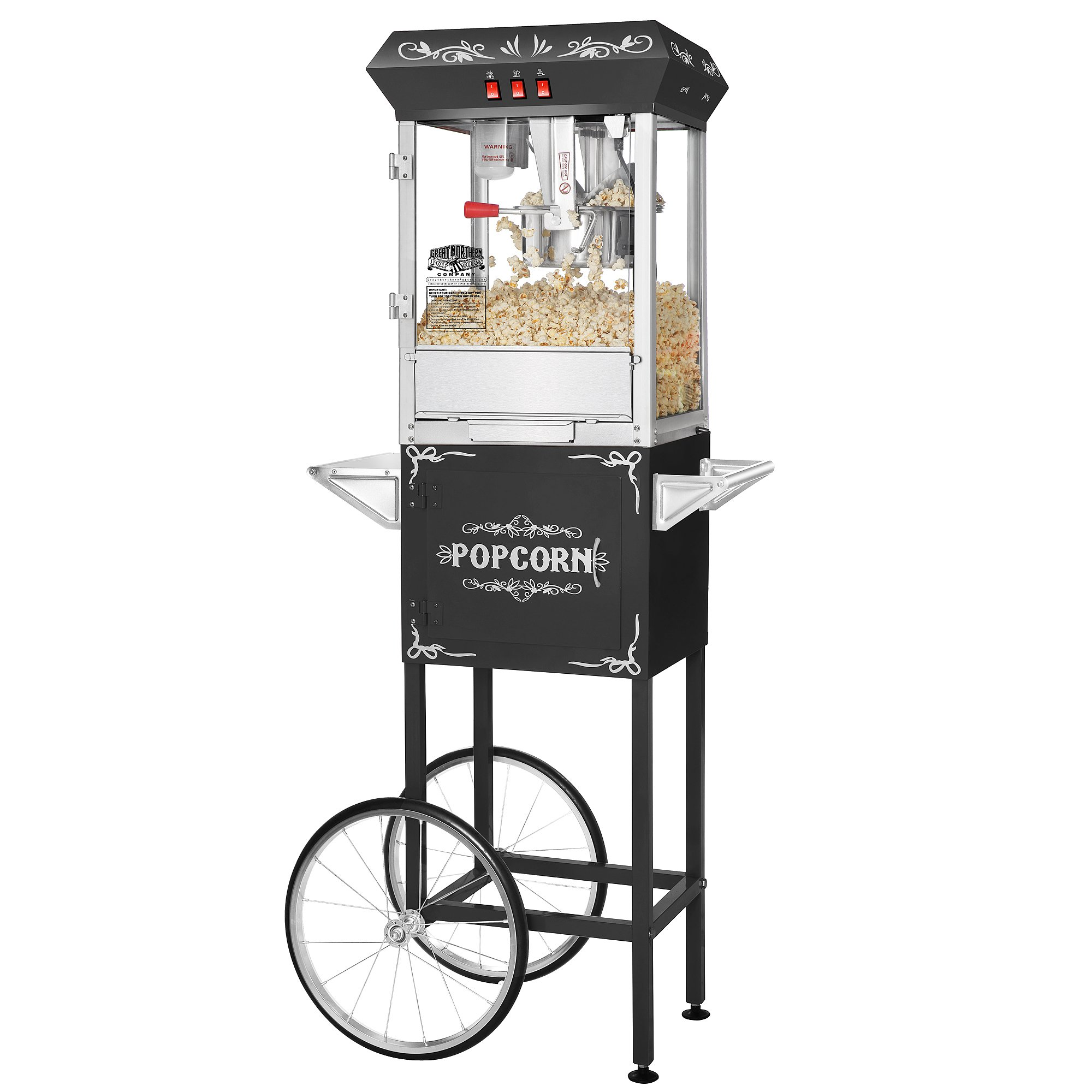 Great Northern Popcorn Black 8 oz. Ounce Foundation Vintage Style Popcorn Machine and Cart
