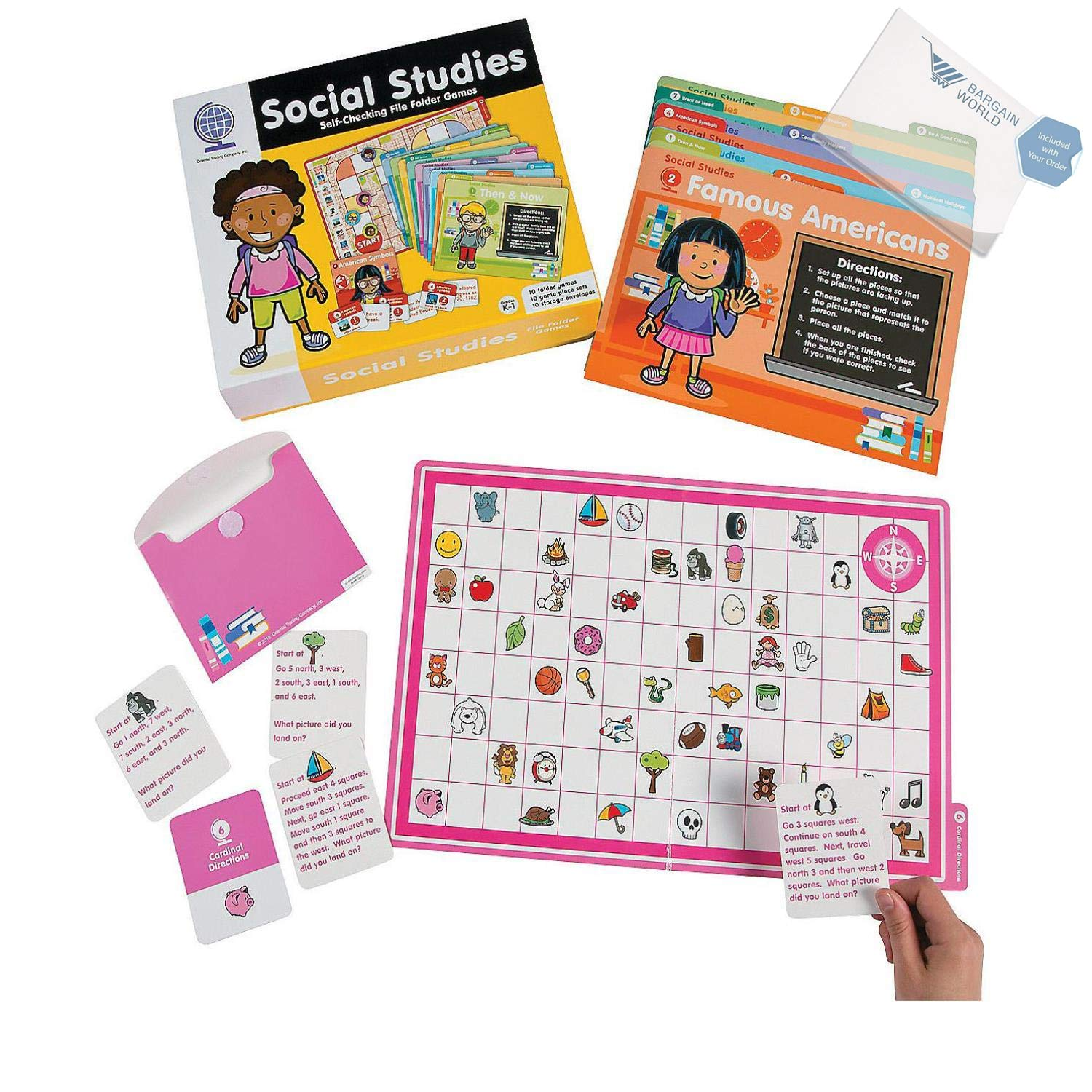 Bargain World Social Studies File Folder Games: K-1 (With Sticky Notes)
