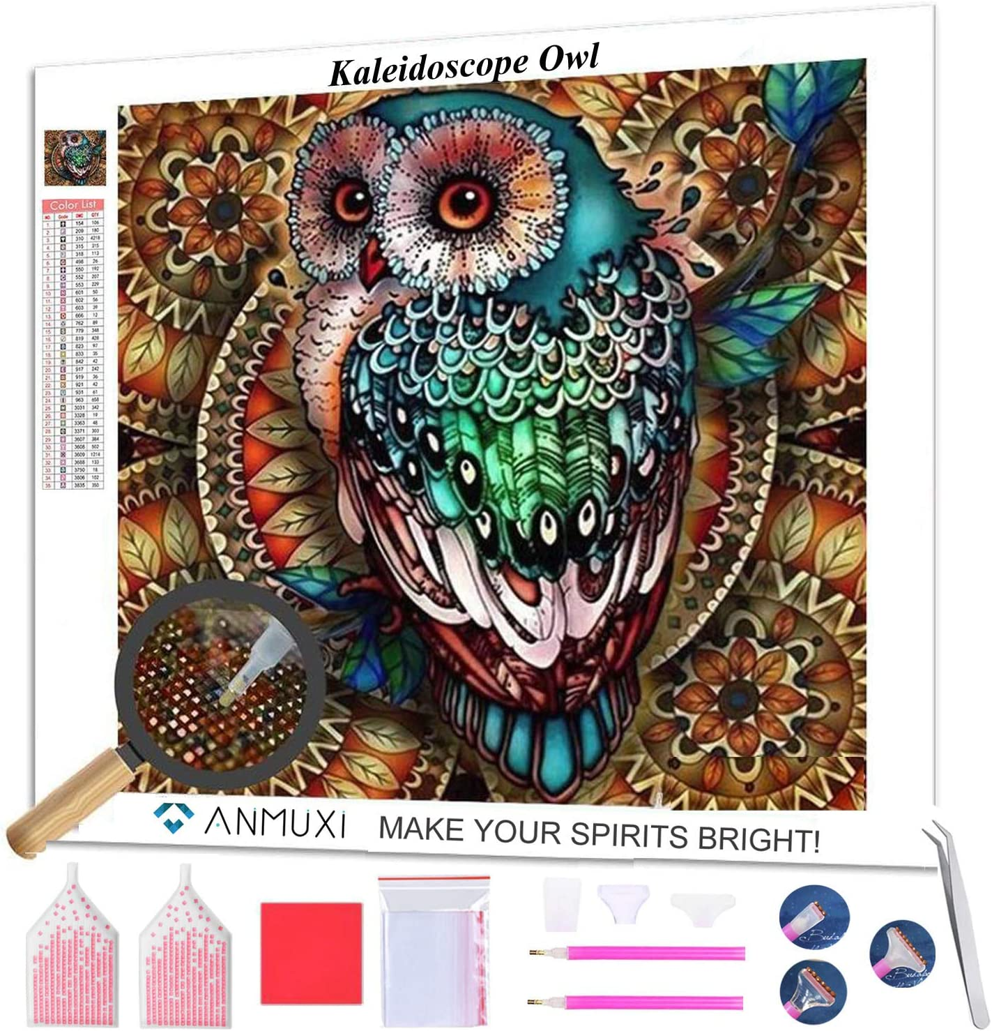 ANMUXI 5D Diamond Painting Kits Full Square Drills for Adults 30X30CM Kaleidoscope Owl Animals Paint with Diamonds Art for Stress-Relief & Home Decor