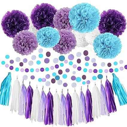 Amazon.com: White Purple Lavender Turquoise Tissue Paper Pom Poms ...