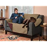 Deluxe Reversible Quilted Furniture Protector. Two Fresh Looks in One. By Home Fashion Designs Brand. (Loveseat - Burgundy / Taupe)