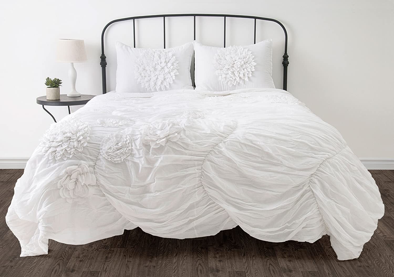 Full Queen Rizzy Home Hush Comforter Set, King, White