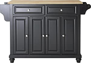 Crosley Furniture Cambridge Full Size Kitchen Island with Natural Wood Top, Black