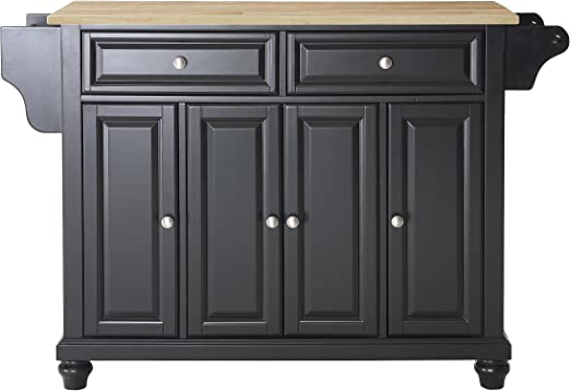 Amazon Com Crosley Furniture Cambridge Full Size Kitchen Island With Natural Wood Top Black Kitchen Islands Carts
