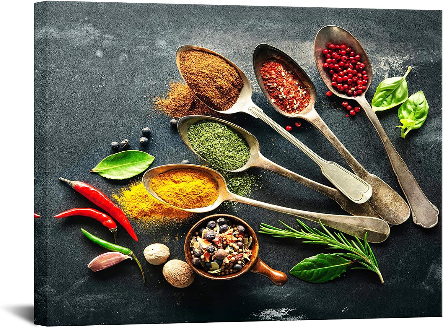 Biuteawal Various Spices in Spoons Canvas Wall Art Food Picture Print on Canvas Home Decoration Gift Kitchen Dining Room Restaurant Wall Decor Stretched and Framed Ready to Hang 24x32inch