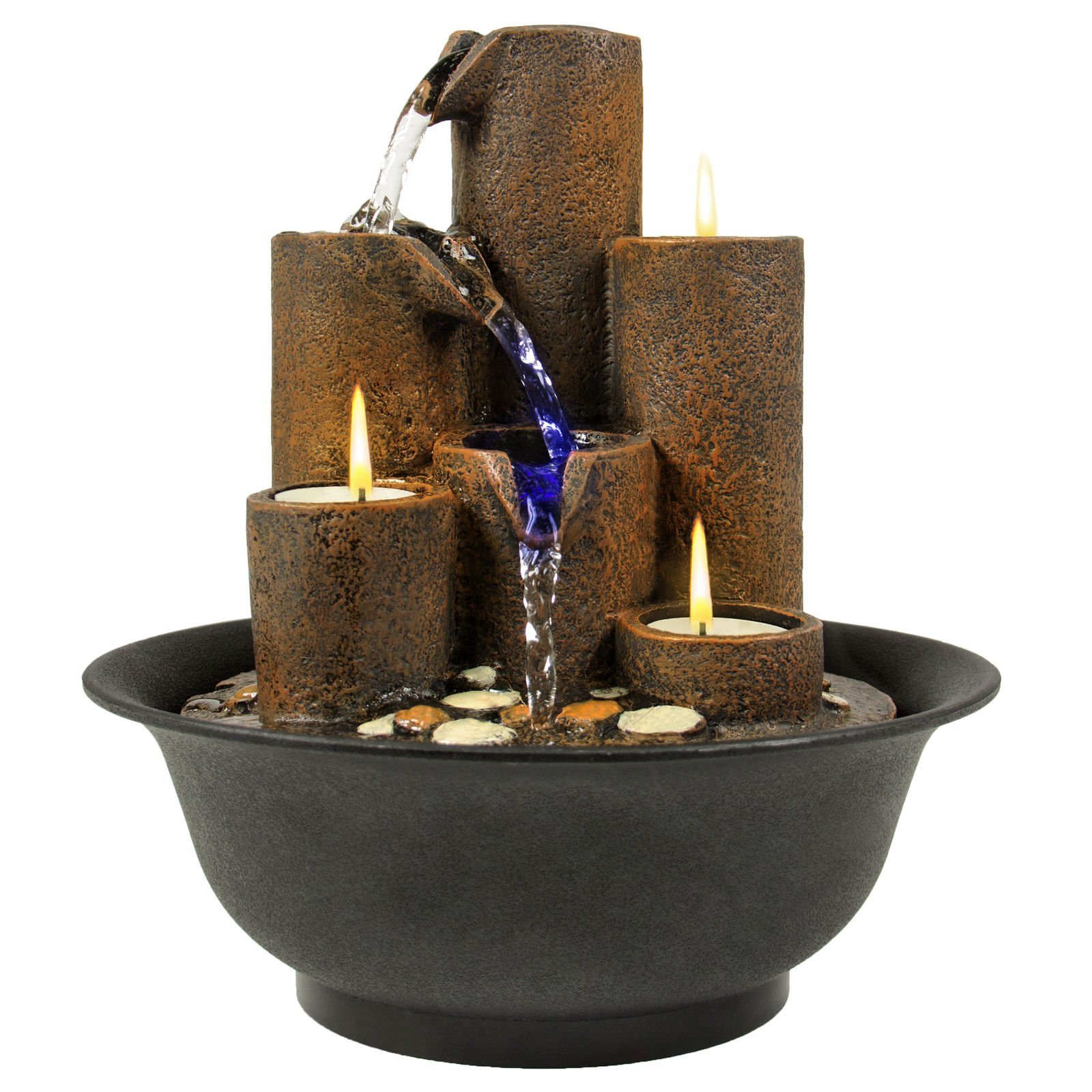 NEW Home Accent Tabletop Fountain Waterfall W/ 3 Candles And LED Lights