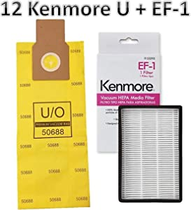 Casa Vacuums Replacement Kit for Kenmore Upright Vacuums. 12 Kenmore U/O Allergen Bags 50688 + 1 Sears Kenmore EF-1 Filter 20-53295 86889