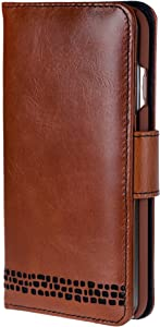 iPhone 7 Case – Ed Hicks iPhone 7 Leather Case – Genuine Leather – Luxury Folio Wallet Flip – Card Slots – Bill Pocket– Double Shield – Color Matched Phone Holder. Vintage Brown with Black Detailing