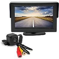 "Elinz 4.3"" LCD Monitor with 12v Reversing Camera Kit CMOS Waterproof Rearview IR Night Vision 2AV Inputs 170 Degree Wide…"