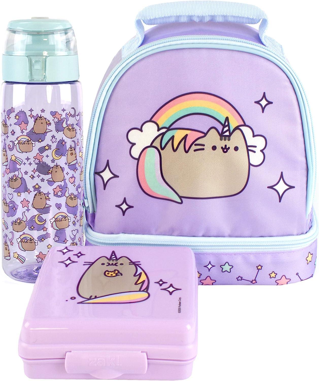 Pusheen Unicorn Lunch Box Purple Rainbow Lunch Bag Bottle and Snack Pot Set