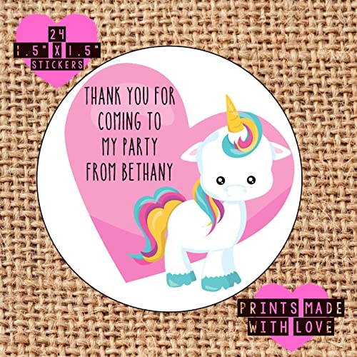 Personalised unicorn cute party bag stickers thank you for coming 24 labels sweet cones labels 1st