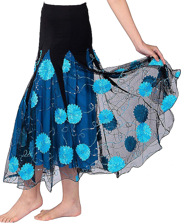 JEZISYMA Womens Flower Ballroom Spanish Waltz Party Long Swing Practice Race Dance Skirt