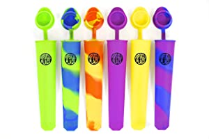 Popsicle Place - Silicone Popsicle Molds BPA-free - Set of 6 Reusable Ice Pop Maker with Attached Lids Plus 50 Recipes E book