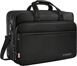 17 inch Laptop Bag, Travel Briefcase with Organizer, Expandable Large Hybrid Shoulder Bag, Water Resisatant Business Messenger Briefcases for Men and Women Fits 17 15.6 Inch Laptop, Computer, Tablet