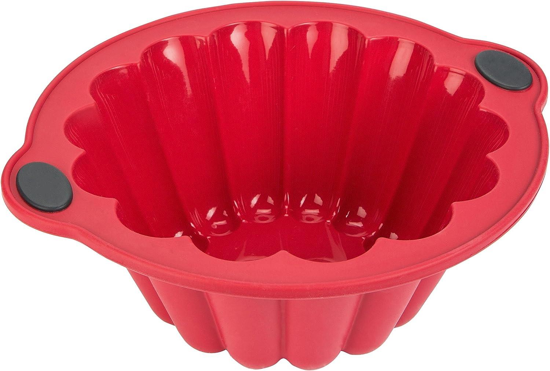 Levivo Molde de silicona para brioche, molde de silicona, molde para horno, molde para brioche, molde de silicona para horno, molde de brioche para horno, rojo, 20 x 9,6 cm (medidas internas)