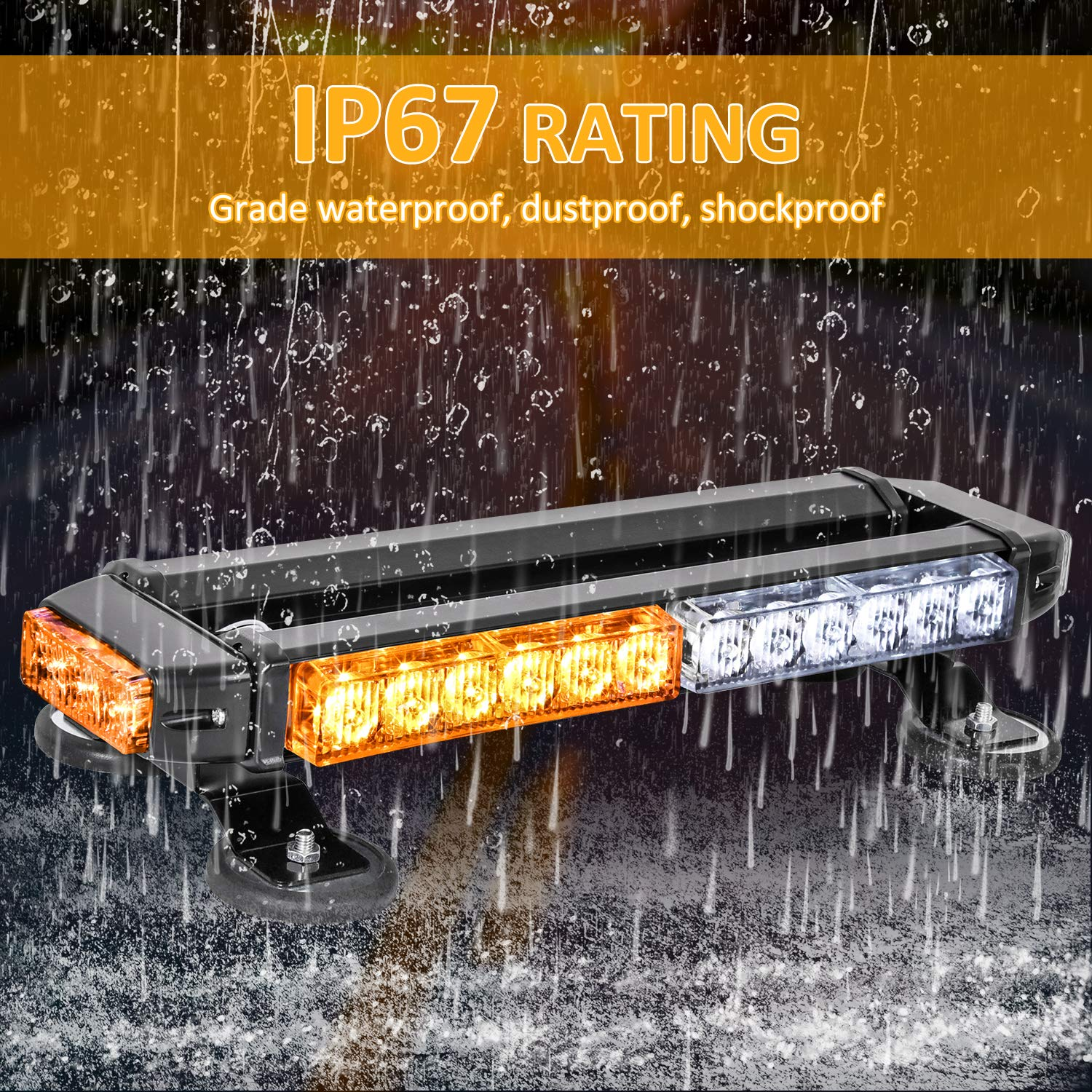 30 LED High Intensity Emergency Hazard Warning Lighting Bar//Beacon//with Magnetic Base and 16 ft Straight Cord for Car Trailer Roof Safety Zmoon LED Strobe Flashing Light Bar Amber//White