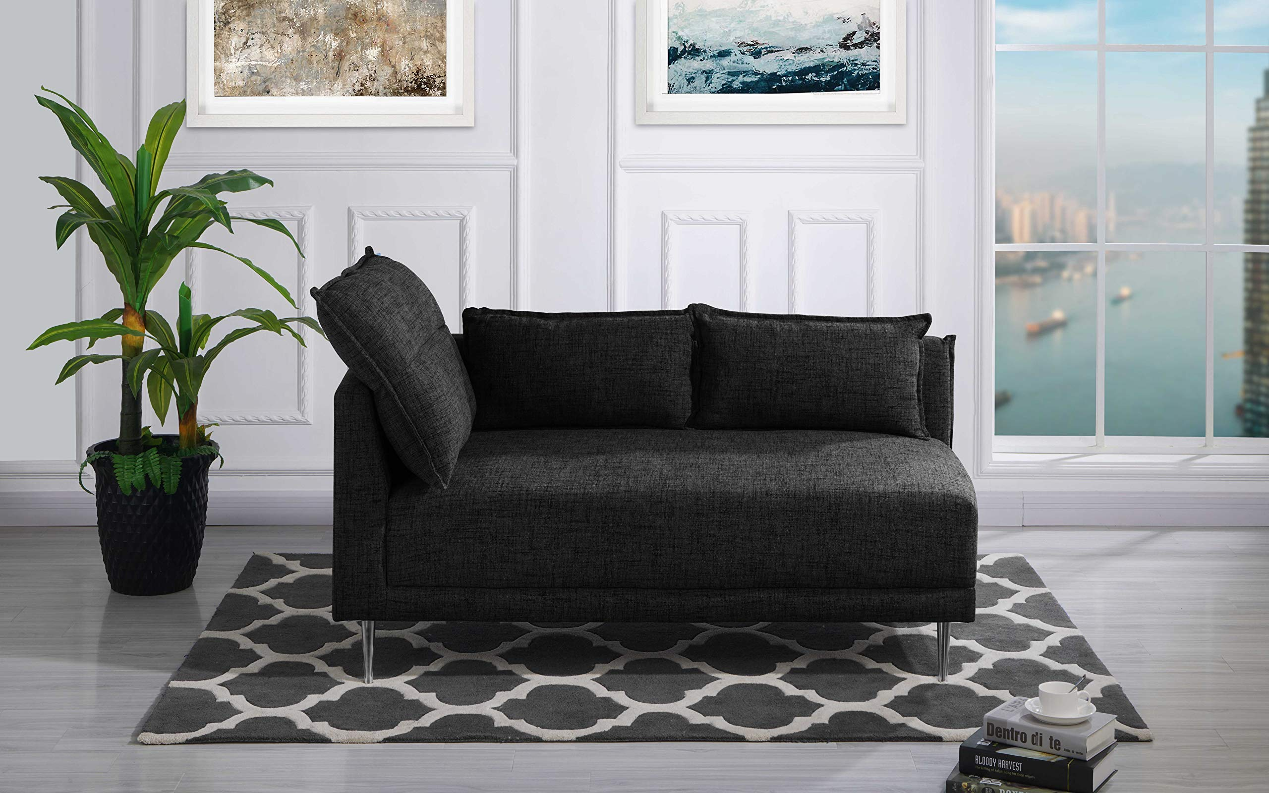 Upholstered 55.9'' inch Modern Living Room Linen Chaise Lounge (Black) by Casa Andrea
