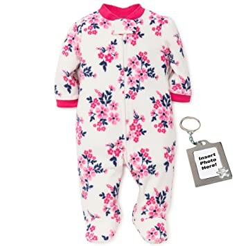 6ee2109b63 Image Unavailable. Image not available for. Color  Little Me Flower Blanket  Sleeper Fleece Kids One Piece Footed Pajama White 18M