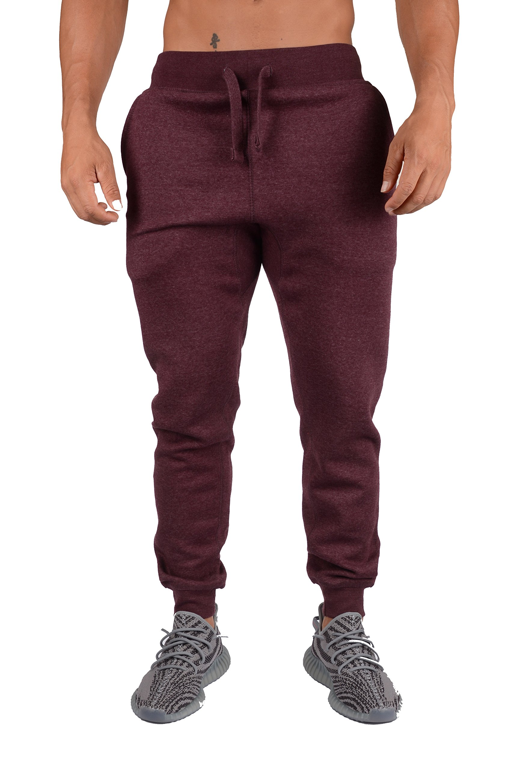 YoungLA Mens Slim Fit Joggers Fitness Activewear Sports Fleece Sweatpants for Gym Training Burgundy Heather Small by YoungLA (Image #2)
