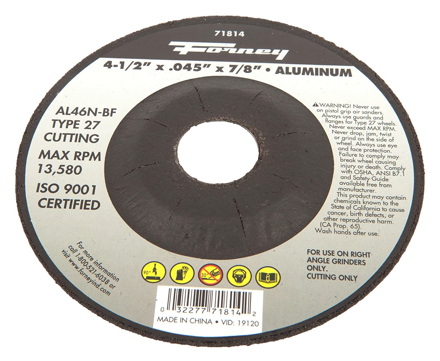 Forney 71814 Cut-Off Wheel with 7//8-Inch Arbor 4-1//2-Inch-by-0.45-Inch Aluminum Type 27 AL46N-BF