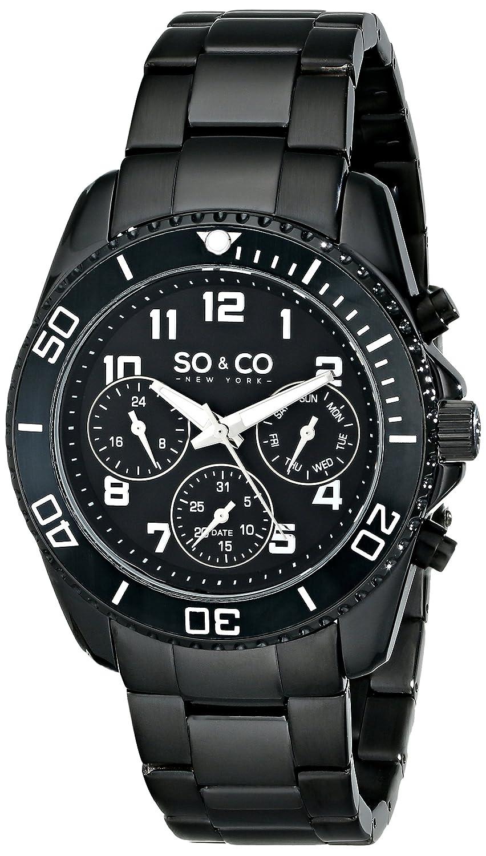SO&CO New York 5029.3 Herren-Armbanduhr - unidirektional - schwarze LÜnette - GMT - Tag und Datum - Edelstahl - Ketten-