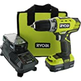Ryobi P1811 One+ Compact Drill / Driver Kit (4 Piece Bundle: 1x P208 Drill / Driver Power Tool, 1x P102 18 Volt Battery, 1x P118 18 Volt Battery Charger, 1x Lime Green Ryobi Tool Bag)