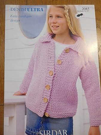 2ae5dc575554 Sirdar Girls Easy Cardigan Ultra Denim 2085 Knitting Pattern  Amazon.co.uk   Kitchen   Home