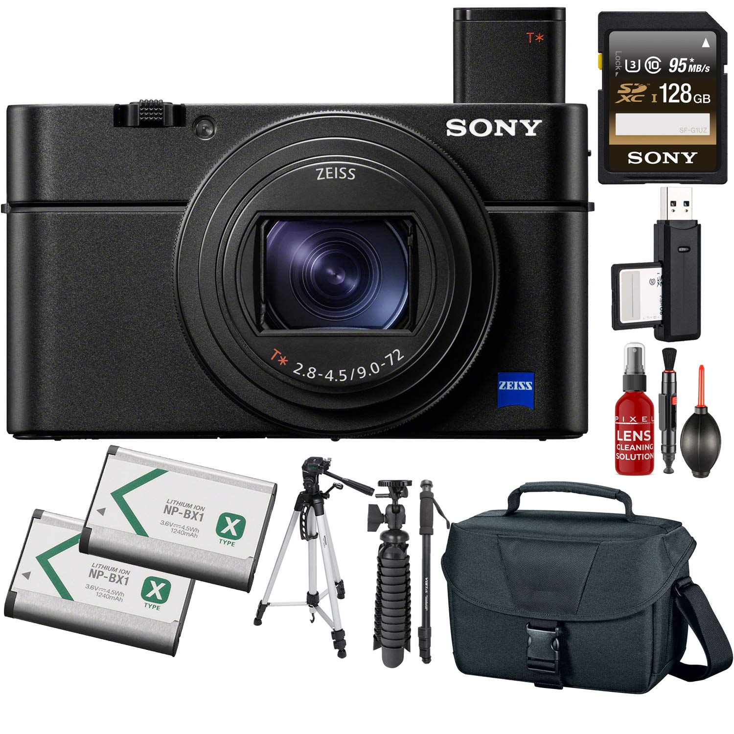 Sony Cyber-Shot DSC-RX100 VII Digital Camera + 128GB Memory Card + Tripod + Carrying Case + Monopod + Extra Battery by Sony