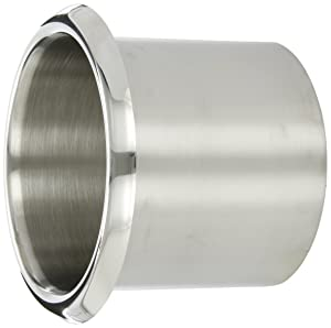 """Bobrick 529 300 Stainless Steel Countertop-Mounted Circular Waste Chute, Bright Polished Finish, 6-15/16"""" OD x 5-1/2"""" ID x 5"""" Depth"""