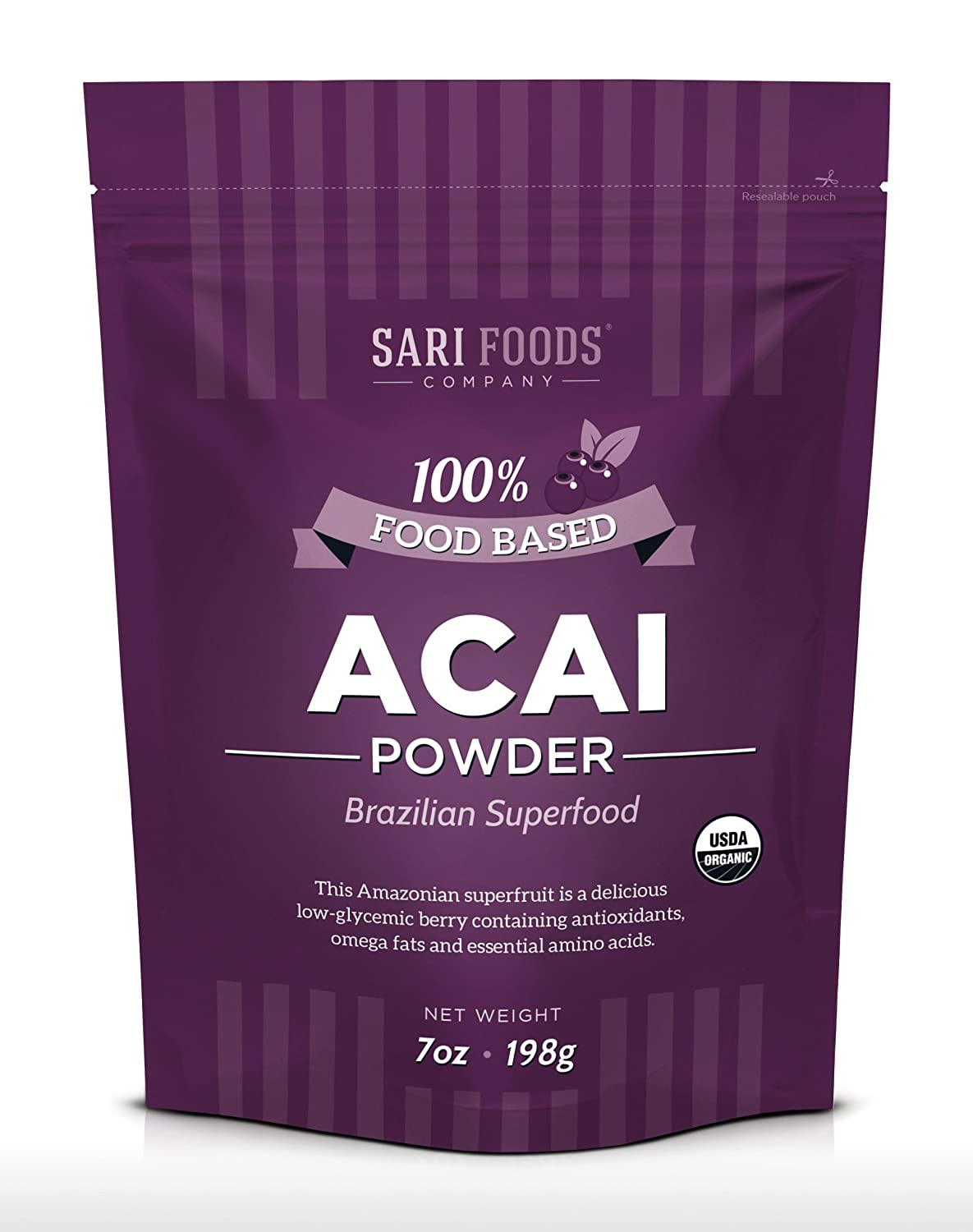 Organic Acai Powder (7 Ounce): Natural Freeze Dried Superfood, Non-Synthetic & Naturally Occurring Plant Based Nutrition, Antioxidants, Omega Fatty Acids, Essential Amino Acids, Calcium, and Iron.