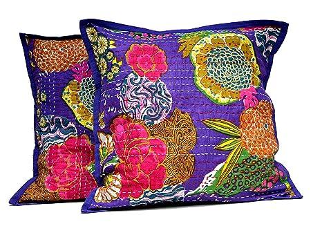 Amazon.com: JHC de 2 rosa y morado indio kantha Stitch ...