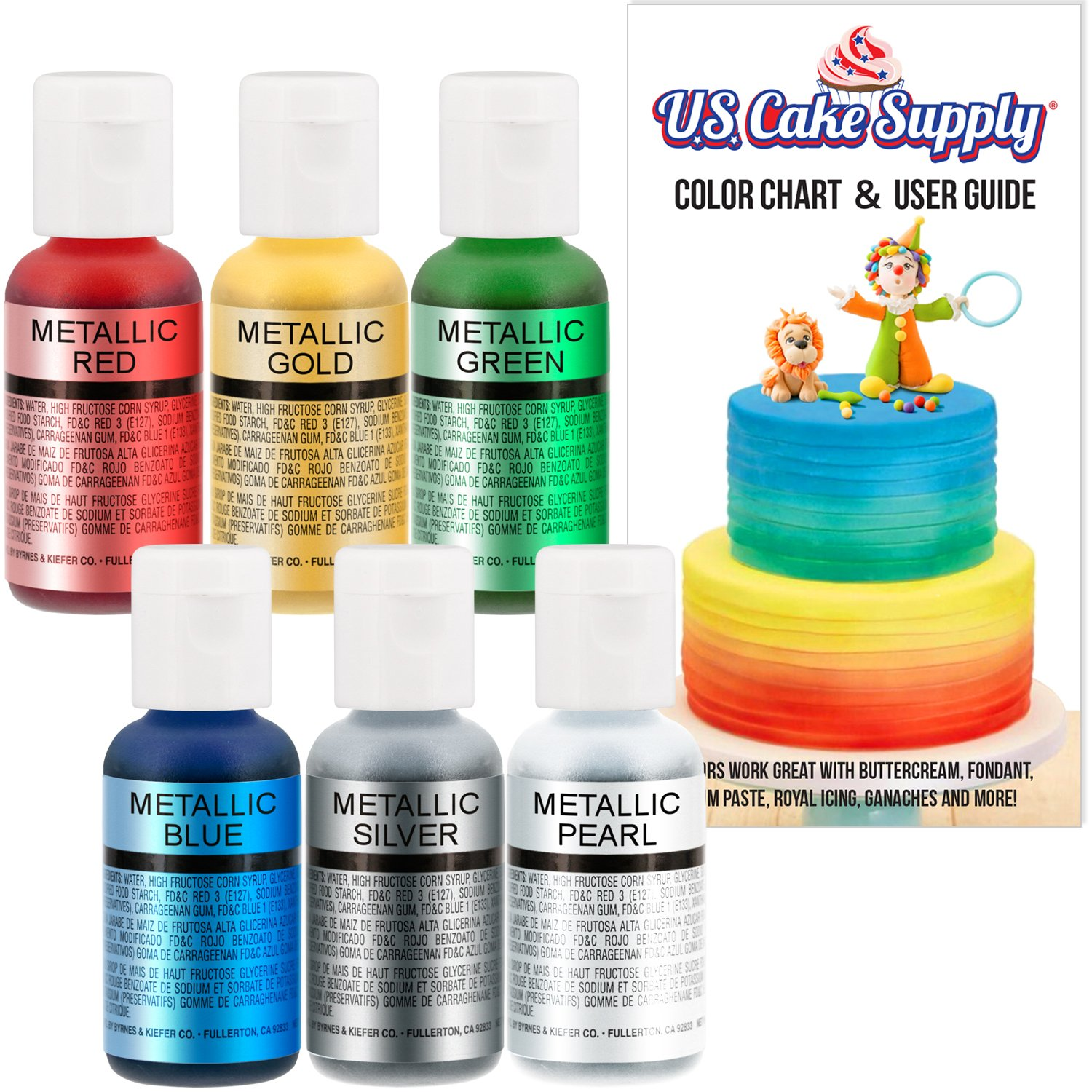 US Cake Supply by Chefmaster Airbrush Cake Pearlescent Shimmer Metallic Color Set - The 6 Most Popular Metallic Colors in 0.7 fl. oz. (20ml) Bottles