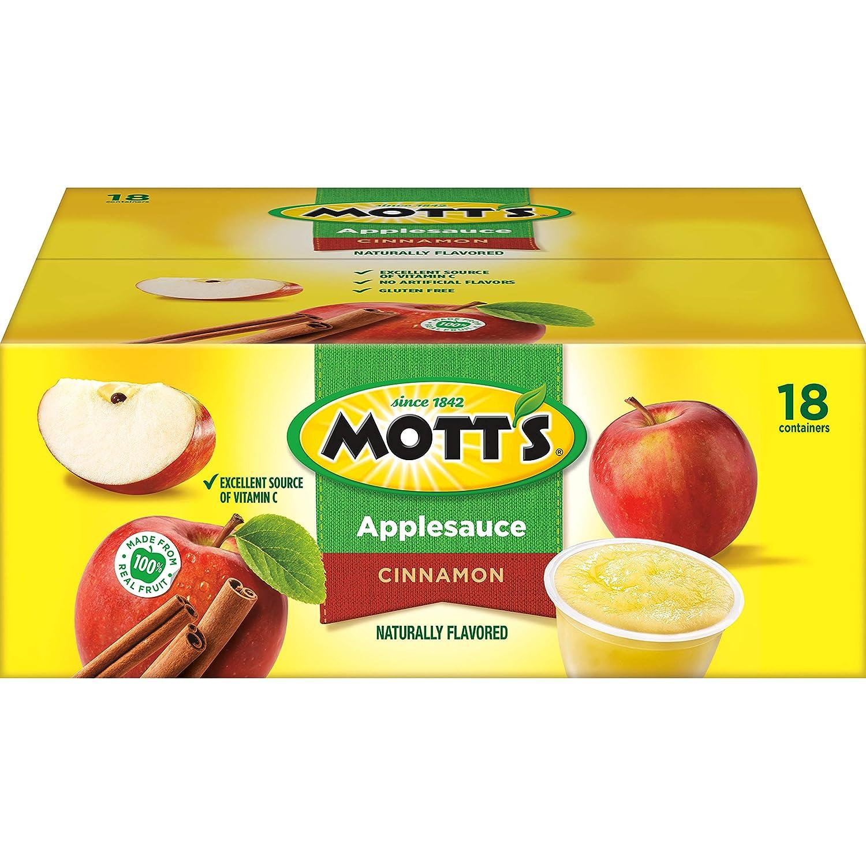 Mott's Original Cinnamon Apple Sauce Naturally Flavored 18/4.0 Oz Net Wt 72 Oz