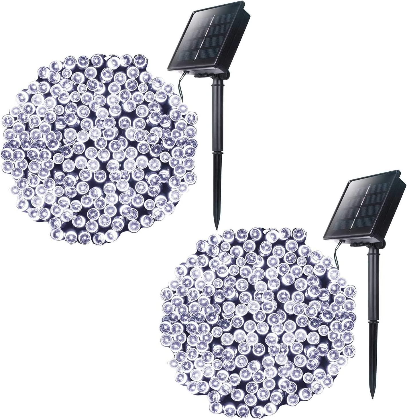Outdoor Solar String Lights with 8 Lighting Modes, 72 Feet 200Led Waterproof Solar Powered Lights for Indoor Outside Xmas Patio Garden Yard Wedding Party Christmas Tent Tree Decor, Pure White, 2 Pack