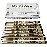 Sakura Pigma Micron pen 01 Black ink marker felt tip pen, Archival pigment ink pens for artist, zentangle, technical drawing pens - 8 pack of Micron 01 black