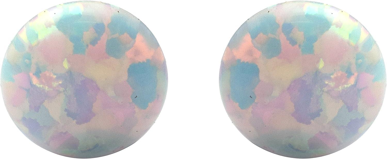 Shine Jewel Pendientes hechos a mano de ópalo etíope de 8.00 mm con piedras preciosas de plata esterlina 925 para mujer Redondo Ópalo Blanco
