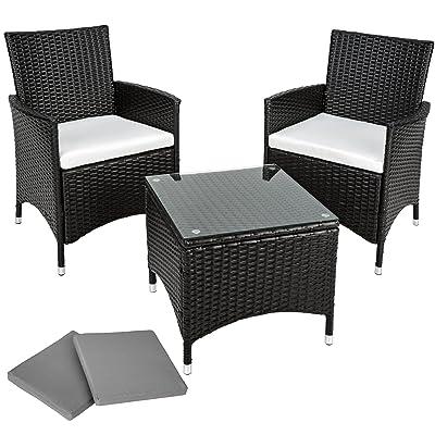 TecTake Salon de jardin Table de jardin en aluminium et poly rotin ...