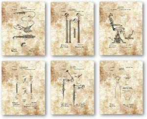 Ramini Brands Original Dental Patent Artwork - Set of 6 8 x 10 Unframed Prints - Great Gift for Dentist, Dental Students and Hygienist - Vintage Dentistry Office Decor
