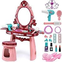 Yunaking Kids Vanity Toys for 2 3 4 5 Year Old Girls, Toddler Vanity Set with High Heels and Princess Crown, Play Makeup…