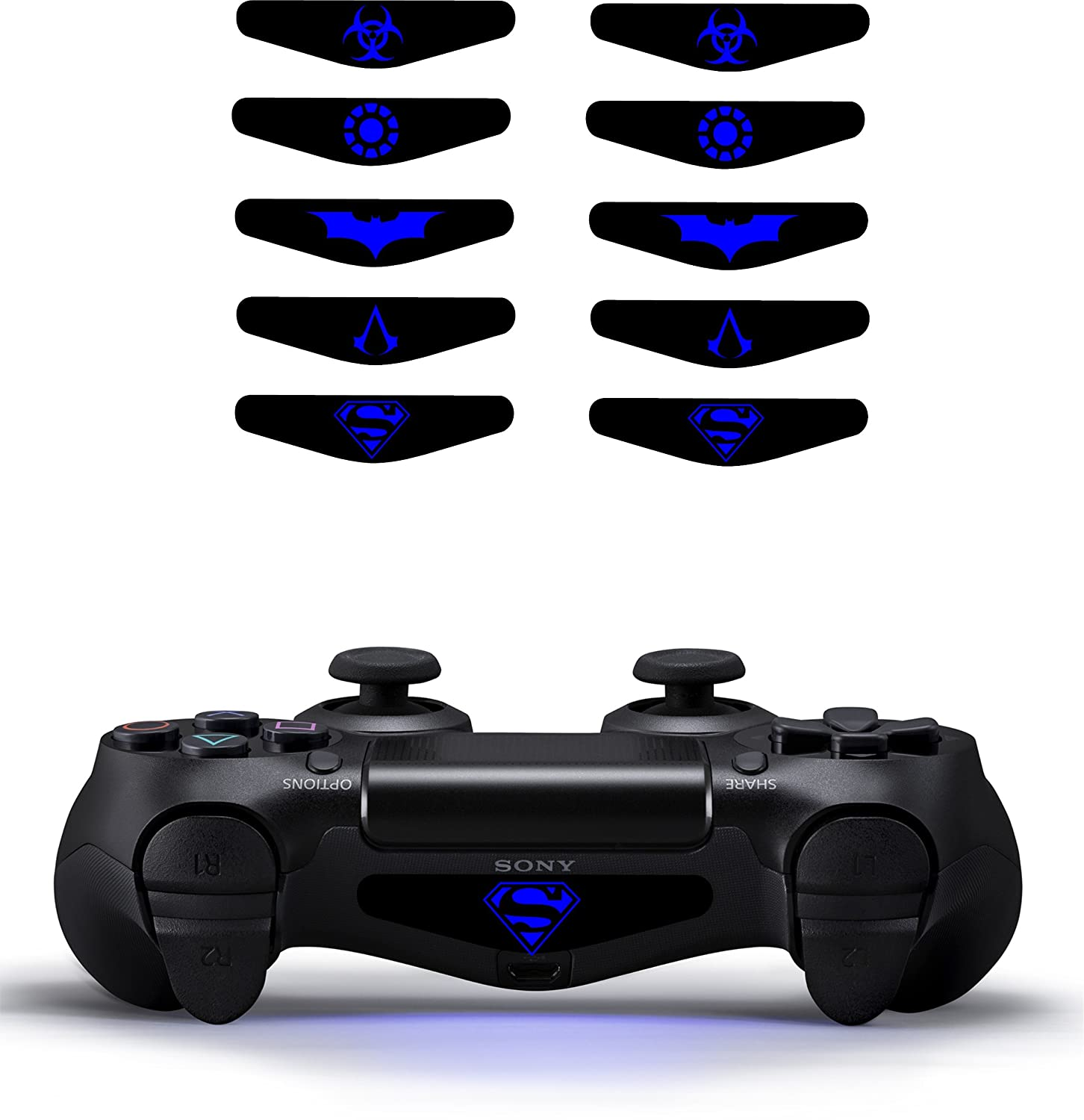 Playstation 4 light bar decal sticker ps4 dualshock controller playstation 4 light bar decal sticker ps4 dualshock controller set of ten super hero themed amazon pc video games aloadofball