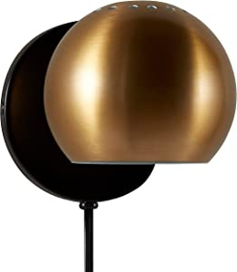 "Rivet Mid Century Modern Wall Mounted Plug-In Sconce, 7.25""H, Gold"