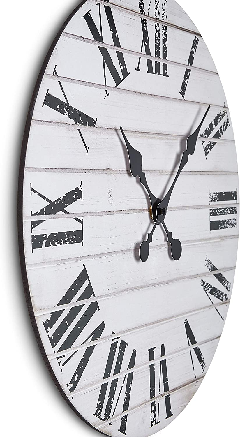 Rustic Off White Wall Clock, Single Piece Fiberboard, 16 inches, Silent Tick
