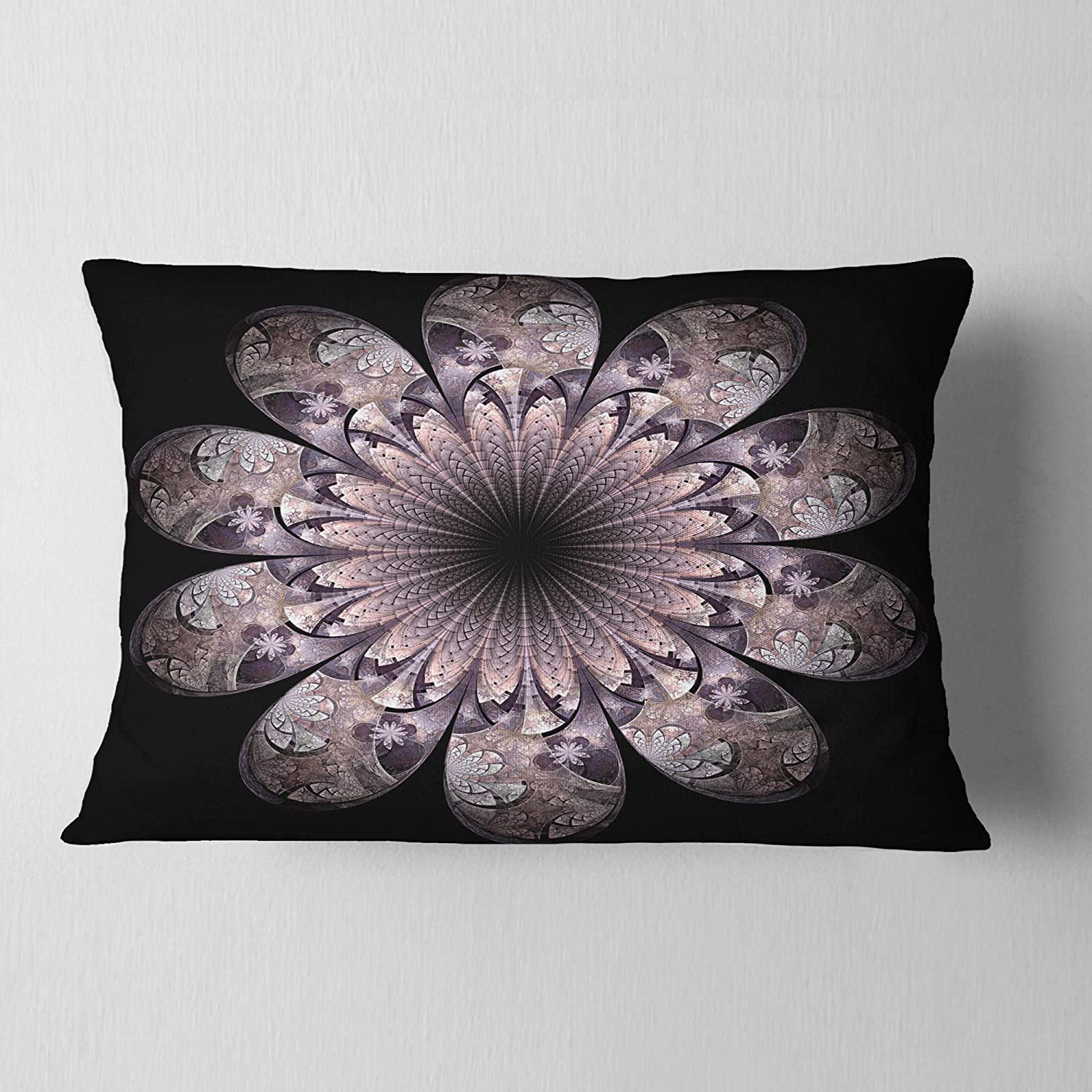 in x 20 in Designart CU11853-12-20 Dark Pink Digital Art Fractal Flower Floral Lumbar Cushion Cover for Living Room Insert Printed On Both Side Sofa Throw Pillow 12 in
