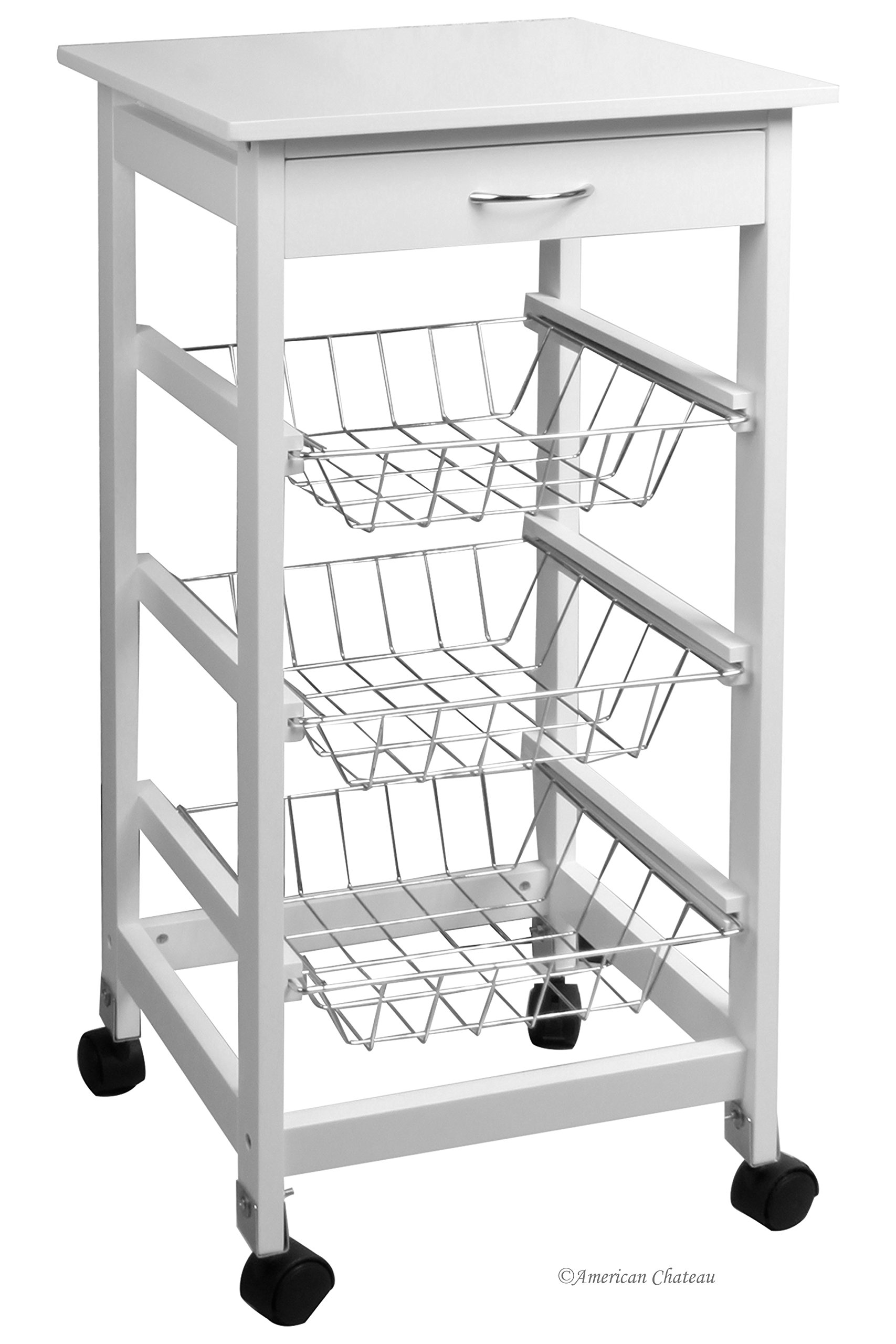American Chateau White Wood 3-Basket Shelving Unit Trolley Cabinet Kitchen Island with Caster Wheels