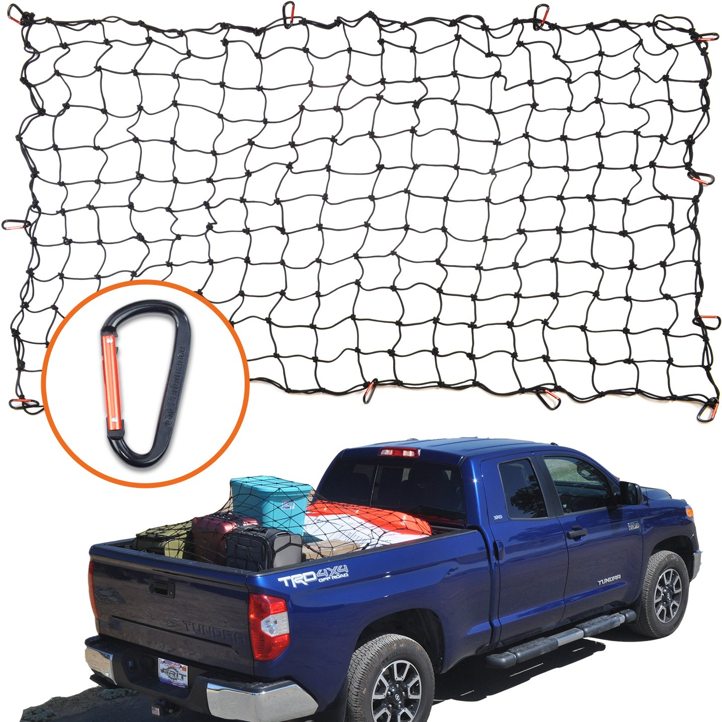 4'x6' Super Duty Bungee Cargo Net for Truck Bed Stretches to 8'x12' | 12 Tangle-Free D Clip Carabiners | Small 4''x4'' Mesh Holds Small and Large Loads Tighter