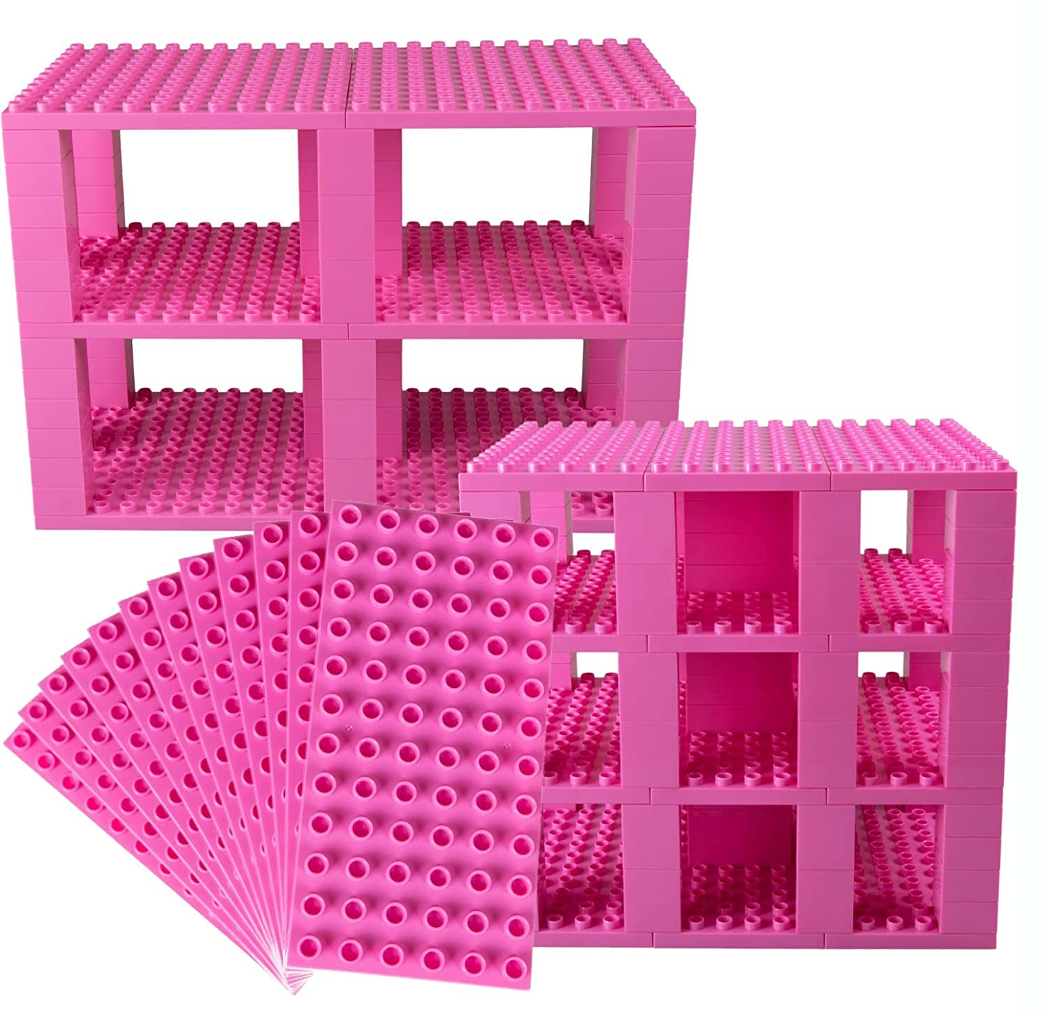 Classic Big Briks 96 Piece Set by Strictly Briks | 100% Compatible with All Major Brands | Tower Construction | Large Pegs for Toddlers | Ages 3+ | Building Bricks & Baseplates | Pink Review