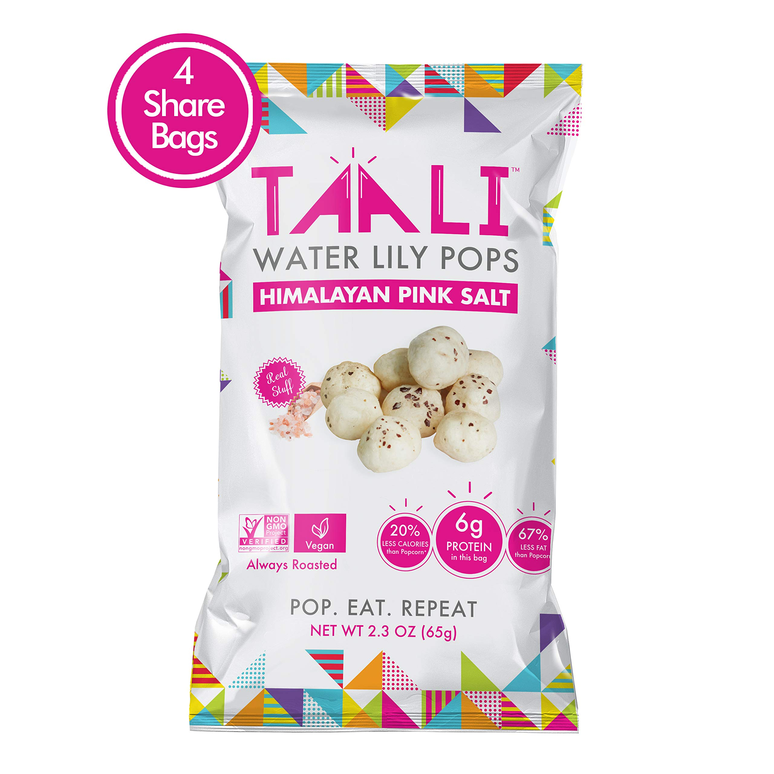 Taali Himalayan Pink Salt Water Lily Pops (4-Pack) - Classic Flavor from the Mountains | Protein-Rich Roasted Snack | Non GMO Verified | 2.3 oz Multi-Serve Bags by Taali (Image #1)
