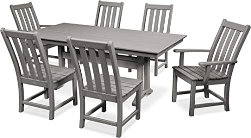 POLYWOOD Vineyard 7-Piece Farmhouse Dining Set Slate Grey