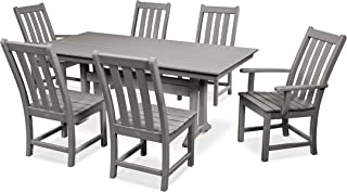 product image for POLYWOOD Vineyard 7-Piece Farmhouse Dining Set (Slate Grey)