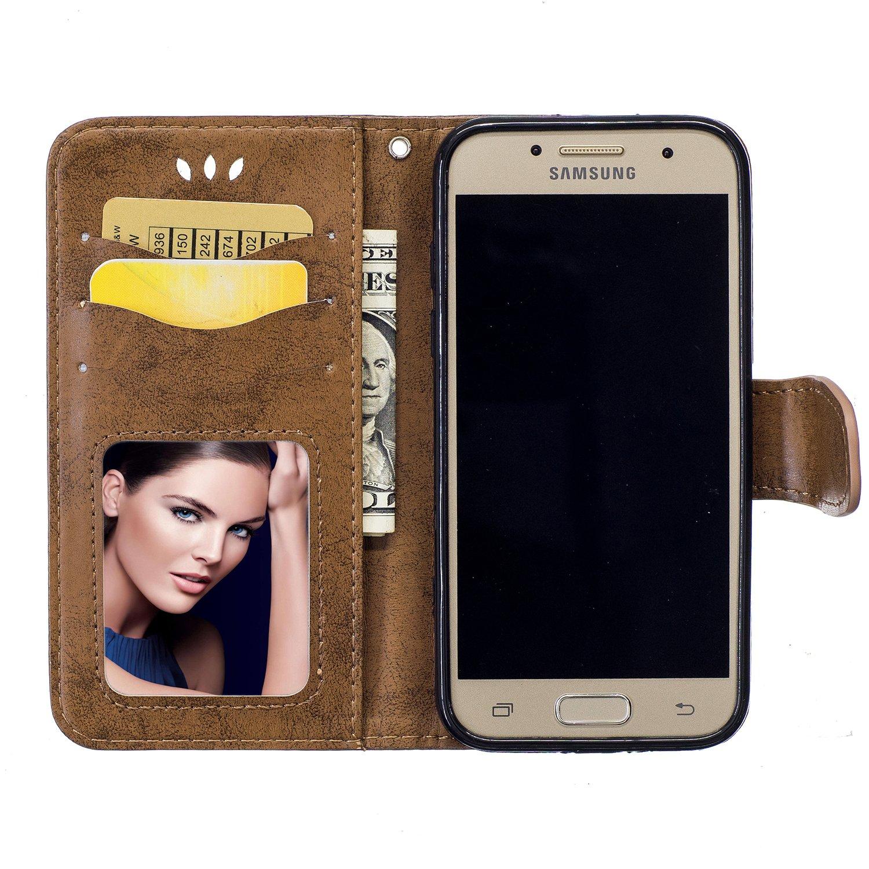 Surakey Cover Samsung Galaxy A3 2017 a Libro Portafoglio Magnetico Cover in Pelle per Galaxy A3 2017 Protezione Totale Fiore Vintage Pieghevole Custodia con Porta Carte,Funzione Stand,TPU Bumper,Oro